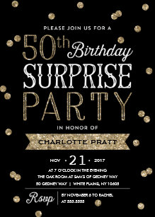 50th glitter confetti surprise party invitation