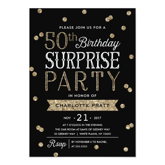50th Glitter Confetti Surprise Party Invitation Zazzlecom