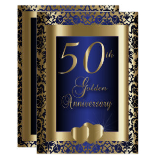 50th Gold and Blue Wedding Anniversary | DIY Text Invitation