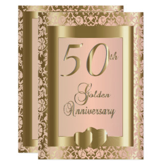 50th Gold and Rose Wedding Anniversary | DIY Text Card