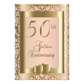 50th Gold and Rose Wedding Anniversary   DIY Text Card