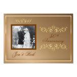 50th, Gold Anniversary, Gold Swirls Photo 5x7 Paper Invitation Card