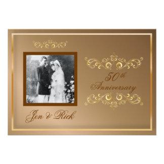 50th Gold Anniversary Gold Swirls Photo Invites