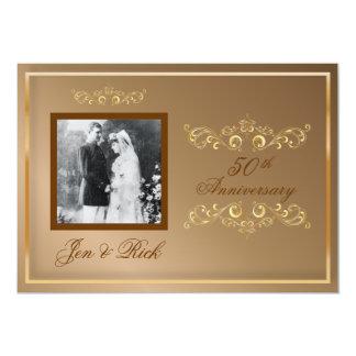 50th, Gold Anniversary, Gold Swirls Photo Invites