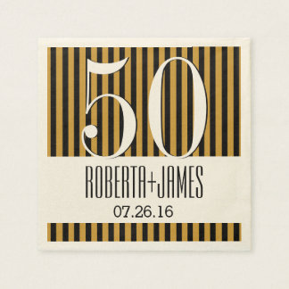 50th Gold Anniversary Modern Gold and Black V02D1 Paper Napkins