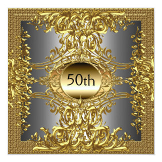 50th Gold Birthday Party Invitation