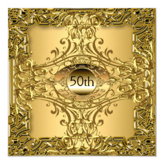 50th Gold Birthday Party Luxury Party Invitation