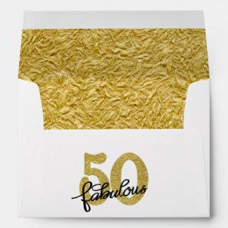 50th Gold Black White | Elegant 50 Fabulous Lined Envelope