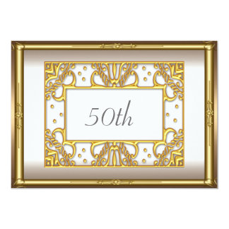 50th Gold Cream Birthday Party Gold Card