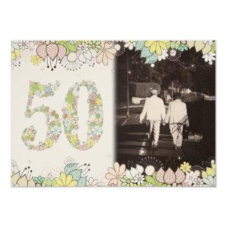 """50th GOLD Golden Wedding Anniversary Photo Invite 5"""" X 7"""" Invitation Card"""