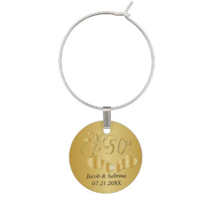 50th Golden Wedding Anniversary Wine Glass Charms & Tags | Zazzle