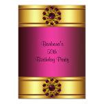 "50th Gold Ruby Pink 50th Birthday Invitation 5"" X 7"" Invitation Card"