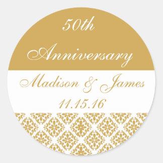 50th Gold Wedding Anniversary Classic Round Sticker