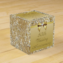 50th Gold Wedding Anniversary Custom Thank You Favor Box