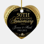 50th Gold Wedding Anniversary Double-Sided Heart Ceramic Christmas Ornament