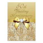 50th Gold Wedding Anniversary Faux Bow Sequins Card