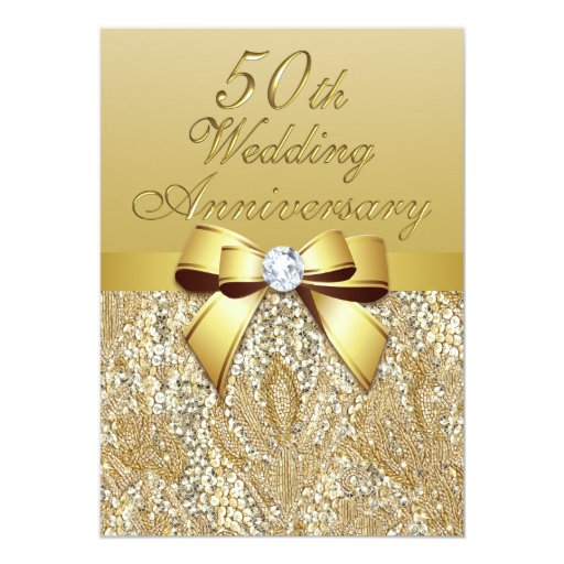 50th Gold Wedding Anniversary Faux Bow Sequins Card Zazzle