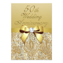 50th Gold Wedding Anniversary Faux Bow Sequins Invitation