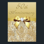 """50th Gold Wedding Anniversary Faux Sequins and Bow Card<br><div class=""""desc"""">Elegant custom personalized 50th Gold Wedding Anniversary party celebration invitations with a beautiful glittery golden colors printed image sequins jewels, gems pattern, cute shiny gold printed bows and ribbons images and pretty digital diamonds bling jewels on a chic gold gradient background with brown text. Please note: All invites on Zazzle...</div>"""