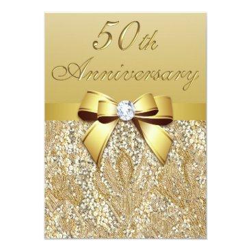 GroovyGraphics 50th Gold Wedding Anniversary Faux Sequins and Bow Card