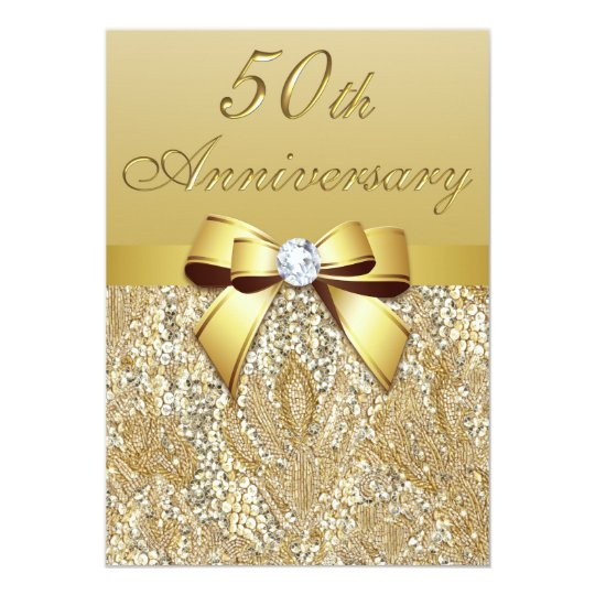 50th Gold Wedding Anniversary Faux Sequins and Bow Card | Zazzle