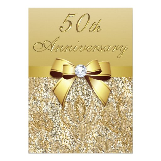 50th Gold Wedding Anniversary Faux Sequins and Bow Custom Invite