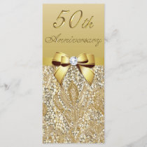 50th Gold Wedding Anniversary Faux Sequins Bow