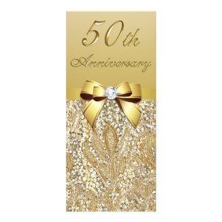 50th Gold Wedding Anniversary Faux Sequins Bow Rack Card