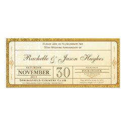 50th Gold Wedding Anniversary Invitation Ticket 4