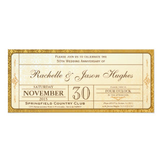 50th Gold Wedding Anniversary Invitation Ticket