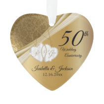 50th Gold Wedding Anniversary 💕 Keepsake Design Ornament