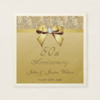 50th Gold Wedding Anniversary Paper Napkin