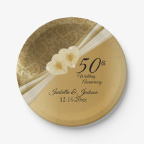 50th Gold Wedding Anniversary Paper Plate