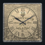 """50th Gold Wedding Anniversary Vintage Distressed Square Wall Clock<br><div class=""""desc"""">Commemorate your 50th gold anniversary with this custom personalized vintage antique distressed look clock. Makes a great gift.</div>"""