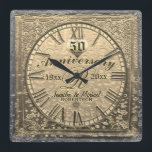 "50th Gold Wedding Anniversary Vintage Distressed Square Wall Clock<br><div class=""desc"">Commemorate your 50th gold anniversary with this custom personalized vintage antique distressed look clock. Makes a great gift.</div>"