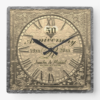 50th Gold Wedding Anniversary Vintage Distressed Square Wall Clock