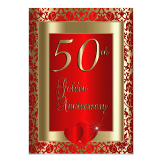 50th Golden and Red Wedding Anniversary   DIY Text Card