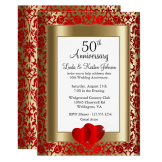 50th Golden and Red Wedding Anniversary | DIY Text Invitation