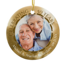 50th Golden Anniversary, 2-Sided 2-Photo Gold Ceramic Ornament