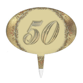 50th Golden Anniversary Cake or Cupcake Toppers
