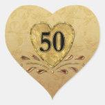 50th Golden  Anniversary Heart Sticker