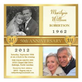50th Golden Anniversary Hearts Photo Invitations