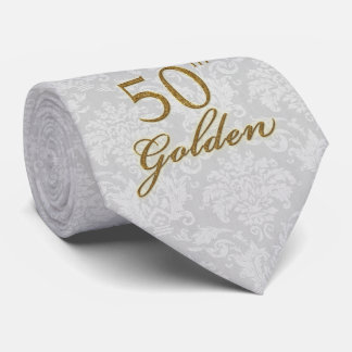 50th Golden Anniversary in Silver Damask Tie