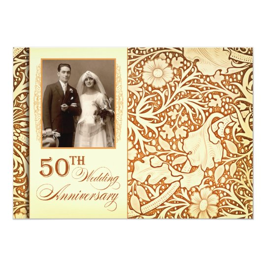 50th Wedding Anniversary Gift Etiquette: 50th Golden Anniversary Invitations With Photo