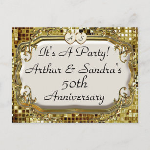 Anniversary party postcards zazzle 50th golden anniversary party invitation postcards stopboris Images