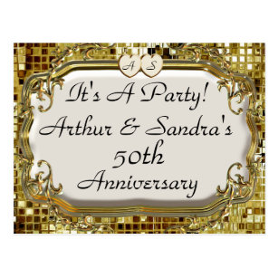 Anniversary party postcards zazzle 50th golden anniversary party invitation postcards stopboris Gallery