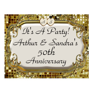 50th Golden Anniversary Party Invitation Postcards