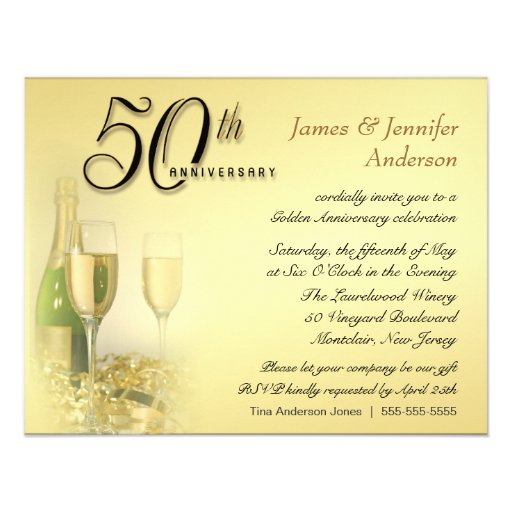 50th Golden Anniversary Party Invitations