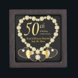 "50th Golden Anniversary Personalize Jewelry Box<br><div class=""desc"">Anniversary Keepsake Gift Box. ⭐This Product is 100% Customizable. *****Click on CUSTOMIZE BUTTON to add, delete, move, resize, changed around, rotate, etc... any of the graphics or text or use the fill in boxes. ⭐99% of my designs in my store are done in layers. This makes it easy for you...</div>"