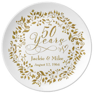 50th Golden Anniversary Personalized Gold White Dinner Plate
